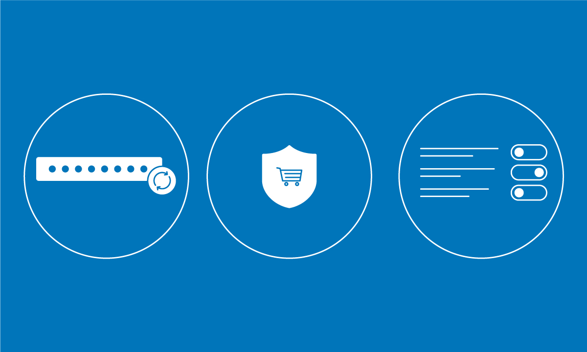 Icons representing Cybersecurity. One is a shield with a shopping cart inside, another shows lines of text with toggles, & one shows a router.